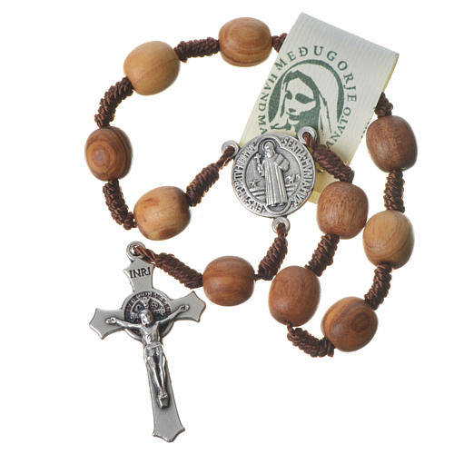 Medjugorje one-decade rosary in olive wood, metal cross 3