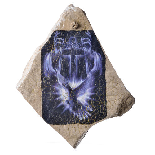 Painting of the Holy Spirit with blue cross in Medjugorje stone 1