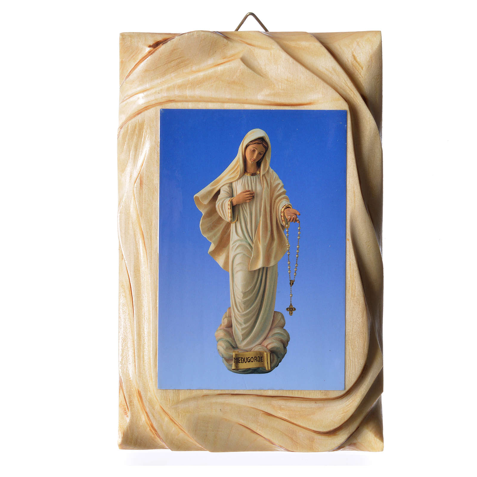 Quadretto legno stampa Madonna Medjugorje 17x11 cm 4