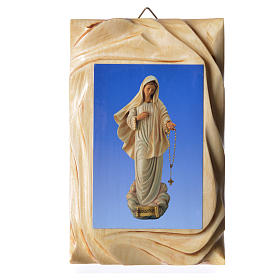 Quadretto legno stampa Madonna Medjugorje 17x11 cm s1