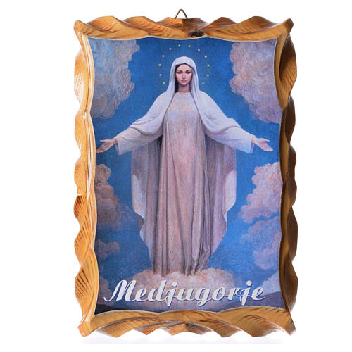 Quadretto legno stampa Madonna Medjugorje 18x12 1