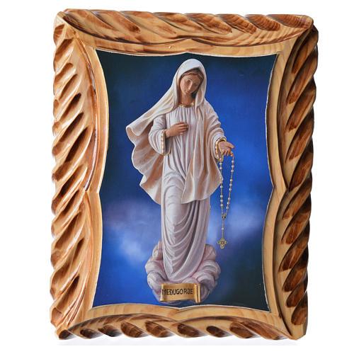 Quadretto legno 23x19 cm stampa Madonna Medjugorje 1