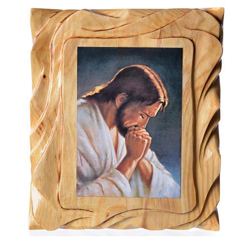 Quadretto legno con stampa Gesù in preghiera 25x20 cm 1