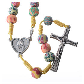 Rosaries and rosary holders: Rosary in yellow fimo with flowers and Medjugorje soil