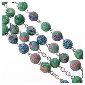 Rosario con fimo verde con Decoraciones florales, diámetro cuentas 6 mm s3