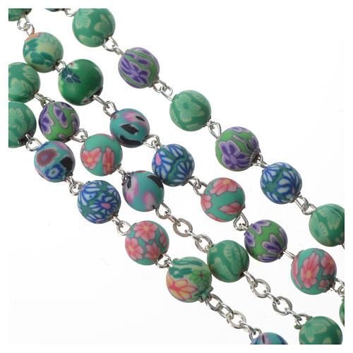 Rosario con fimo verde con Decoraciones florales, diámetro cuentas 6 mm 3