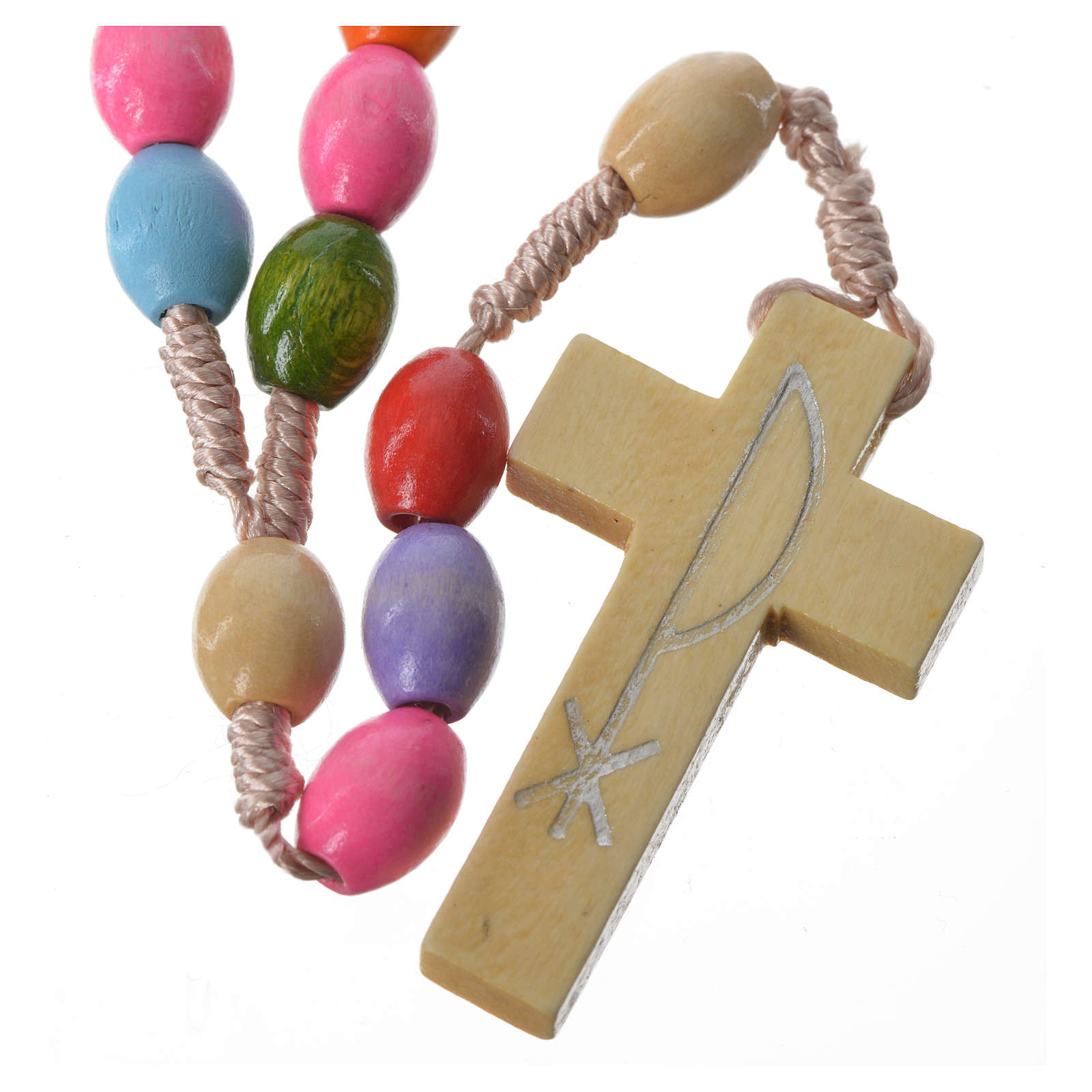 Rosary in Medjugorje wood with multicoloured grains 4