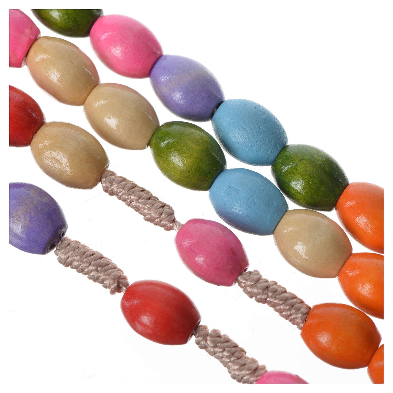 Chapelet bois Medjugorje grains multicolores 4