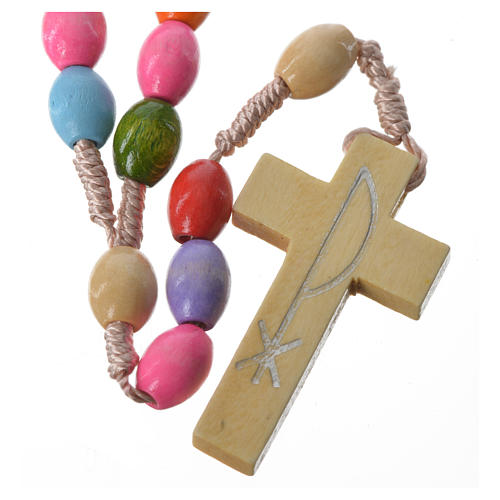 Rosary in Medjugorje wood with multicoloured grains 1