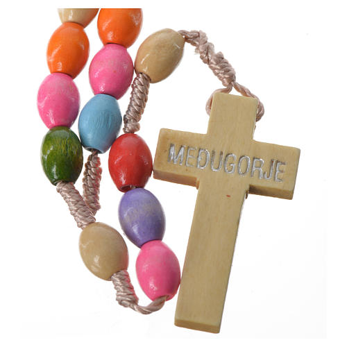 Rosary in Medjugorje wood with multicoloured grains 2