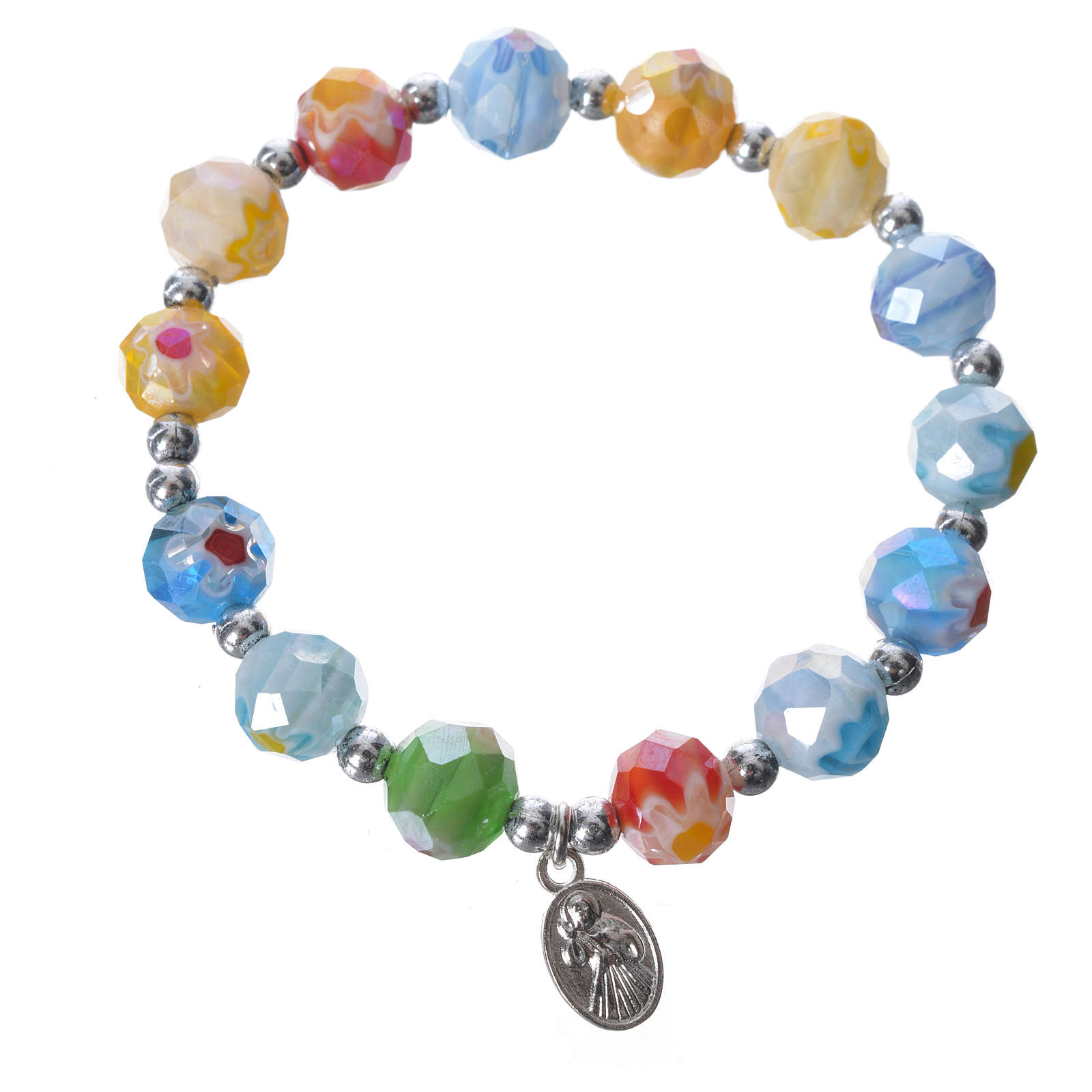 Bracelet in coloured glass with Our Lady of Medjugorje 4