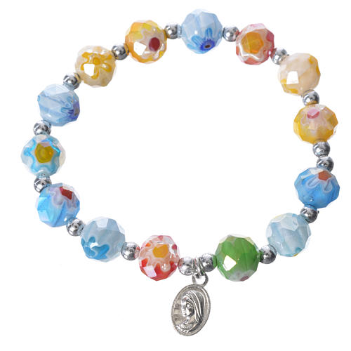 Bracelet in coloured glass with Our Lady of Medjugorje 1