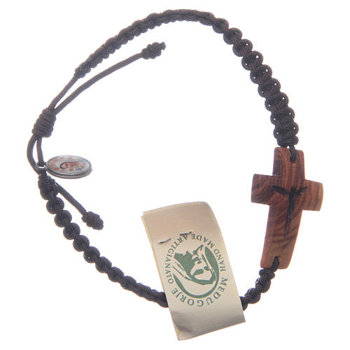 Bracelet with cord and cross in Medjugorje olive wood 1