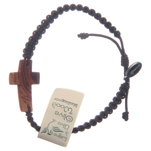 Bracelet with cord and cross in Medjugorje olive wood 2