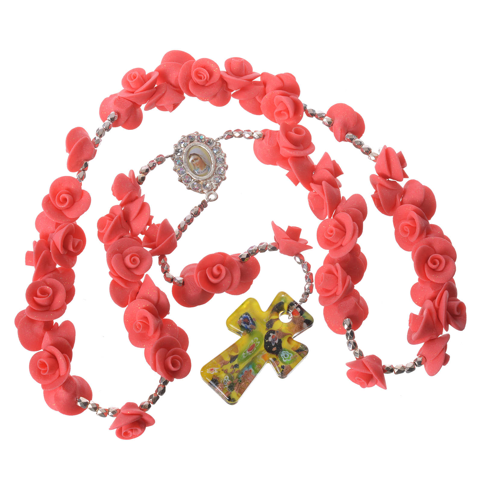 Medjugorje rosary with roses, Murano glass cross 4