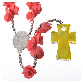Medjugorje rosary with roses, Murano glass cross s2