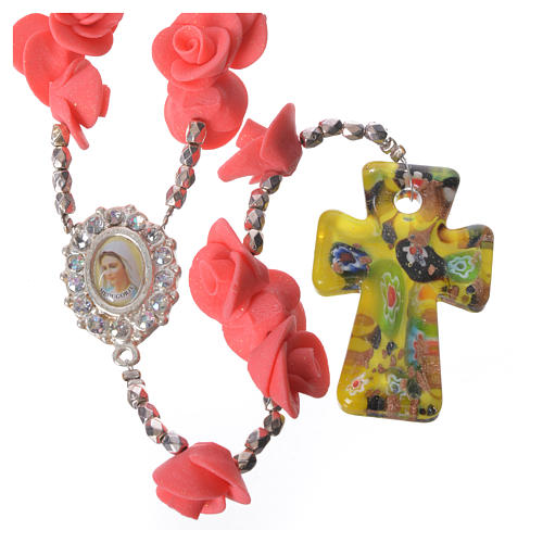 Medjugorje rosary with roses, Murano glass cross 1