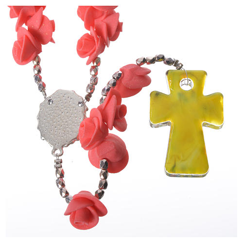 Medjugorje rosary with roses, Murano glass cross 2