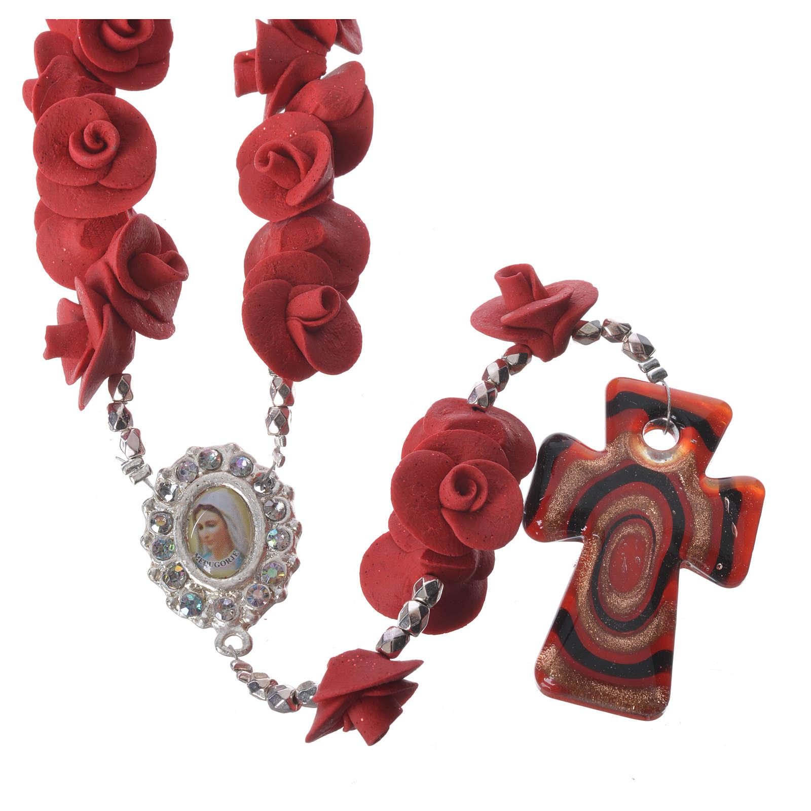 Rosario Medjugorje rose rosse croce vetro Murano 4