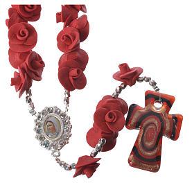Rosario Medjugorje rose rosse croce vetro Murano s1