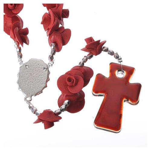 Rosario Medjugorje rose rosse croce vetro Murano 2
