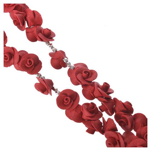 Rosario Medjugorje rose rosse croce vetro Murano 3
