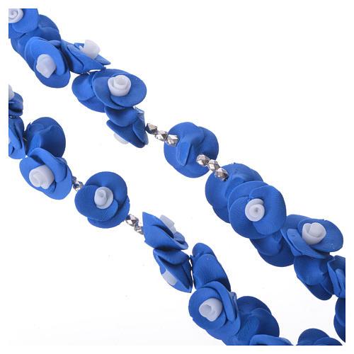 Rosario Medjugorje rose blu croce vetro Murano 3