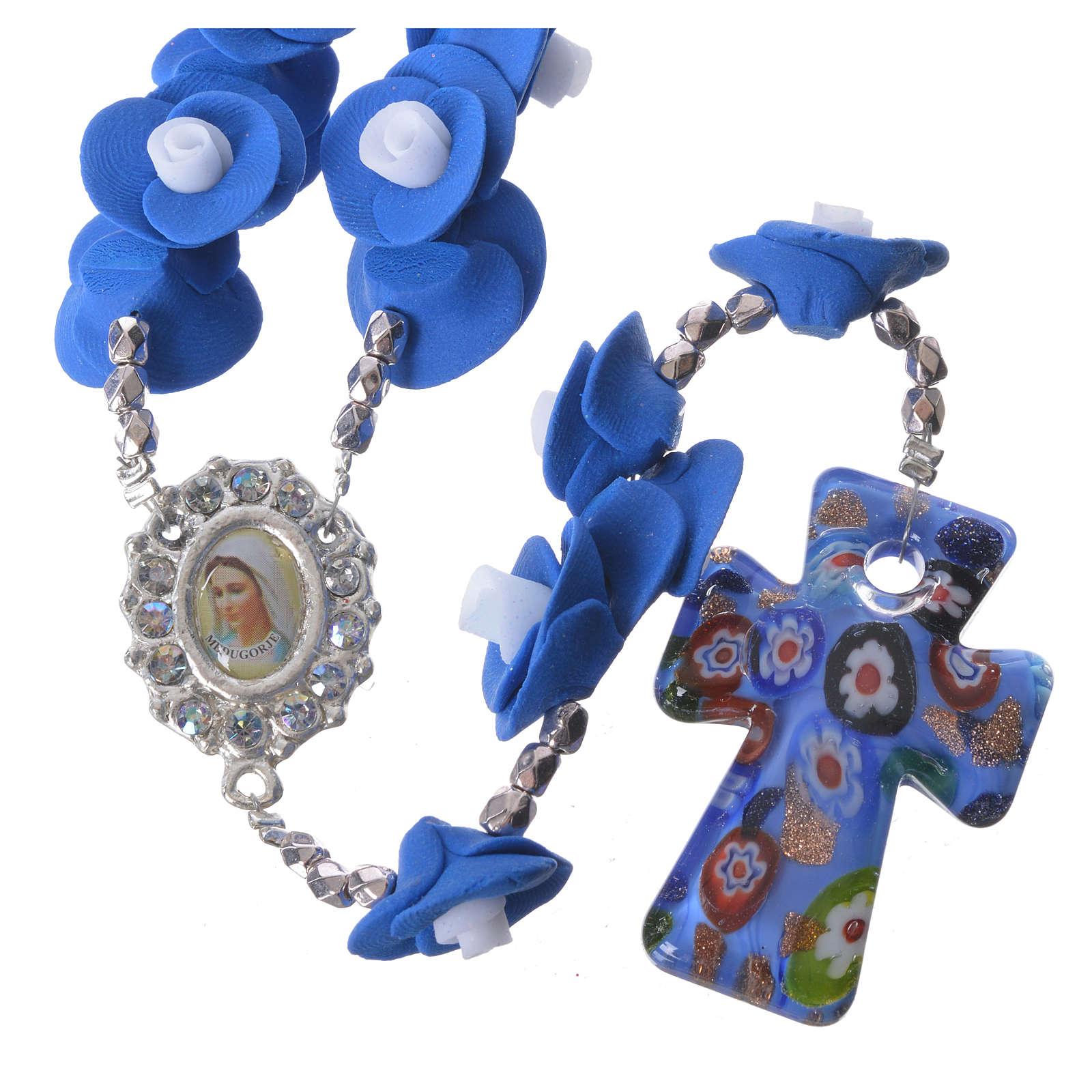 Terço de Medjugorje rosas azul escuro cruz vidro Murano 4
