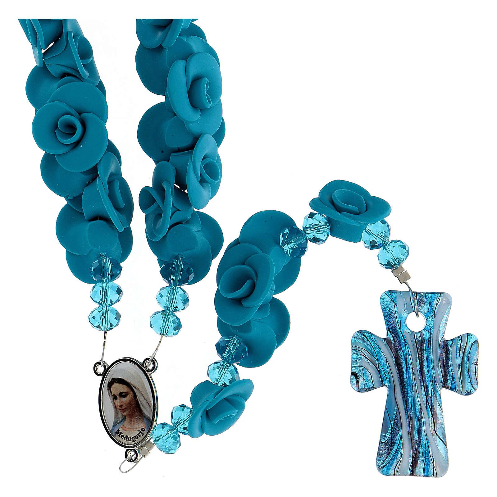 Rosenkranz Medjugorje hellblaue Rosen und Glas Kreuz 4