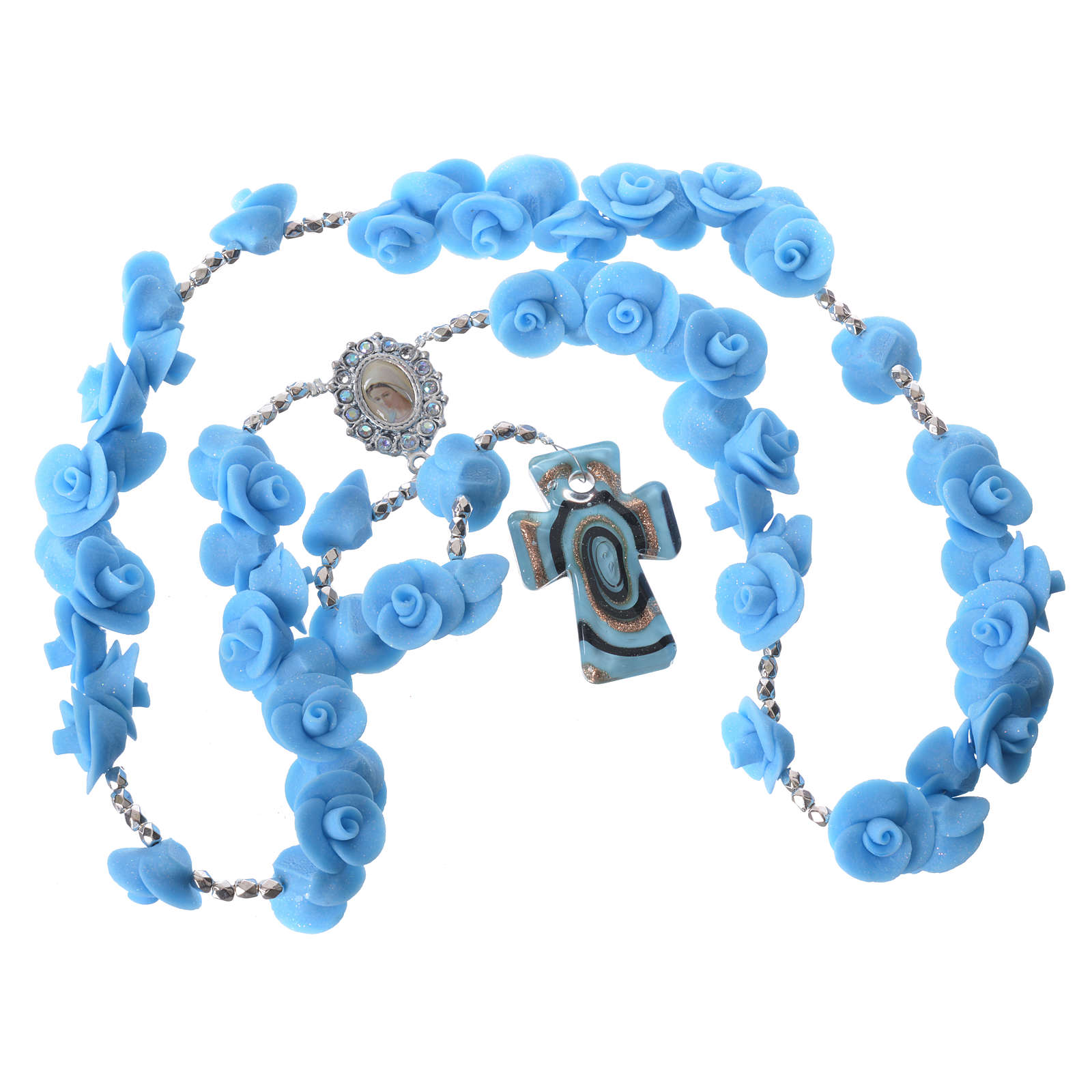 Rosario Medjugorje rose azzurre croce vetro Murano 4