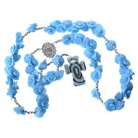 Rosario Medjugorje rose azzurre croce vetro Murano s4