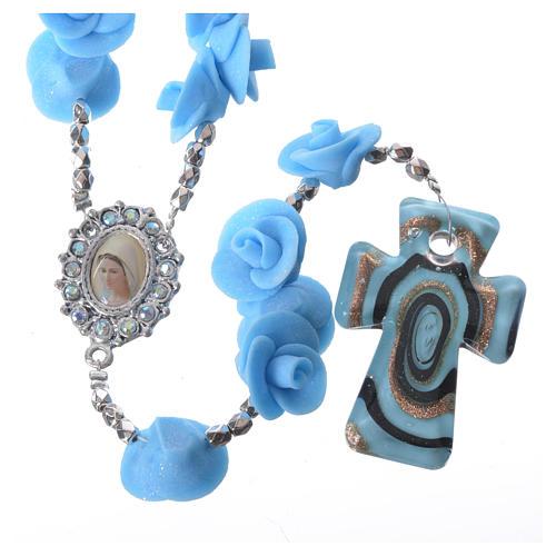 Rosario Medjugorje rose azzurre croce vetro Murano 1
