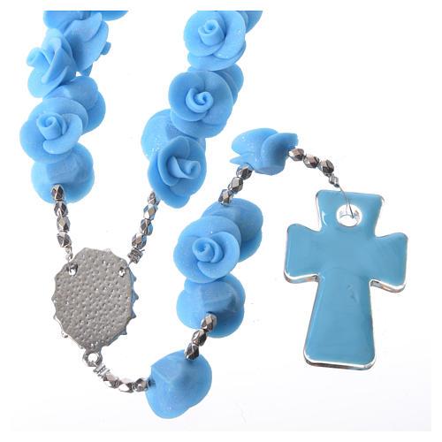Rosario Medjugorje rose azzurre croce vetro Murano 2