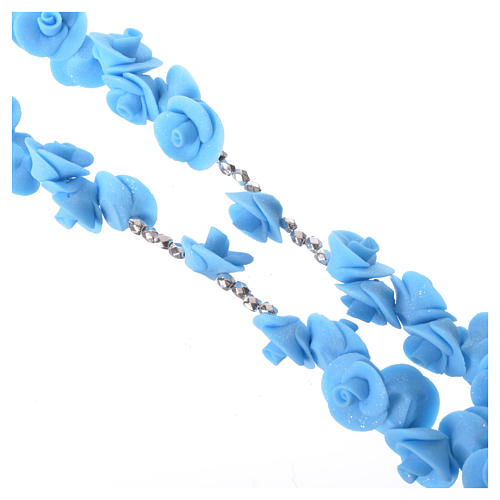 Rosario Medjugorje rose azzurre croce vetro Murano 3