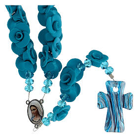 Medjugorje rosary with light blue roses, Murano glass s1