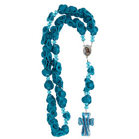 Medjugorje rosary with light blue roses, Murano glass s4