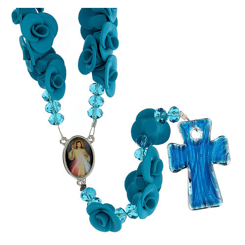Medjugorje rosary with light blue roses, Murano glass 2