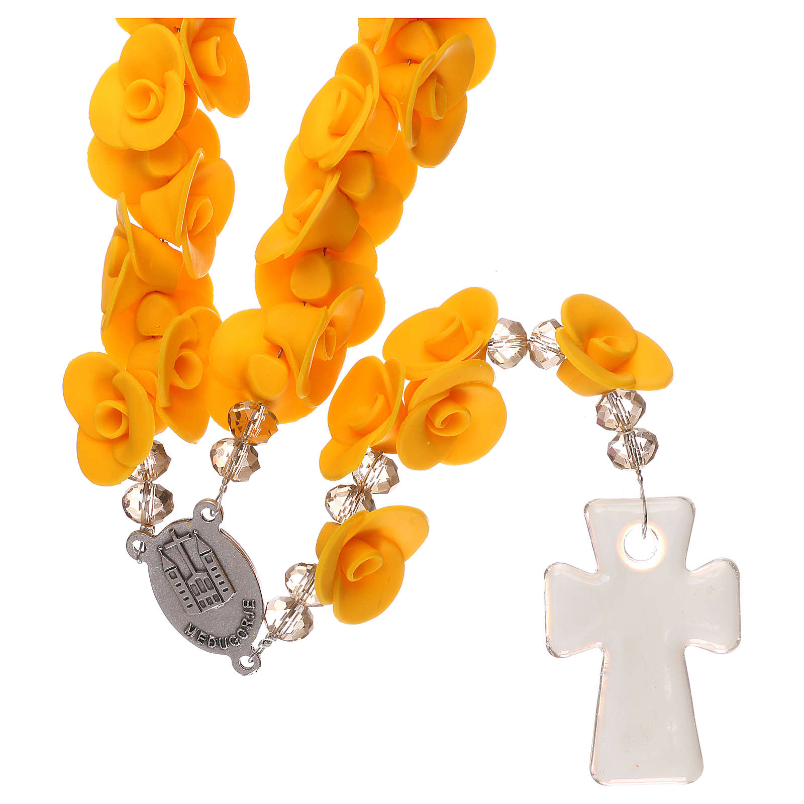 Medjugorje rosary with yellow roses, Murano glass 4