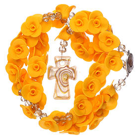 Medjugorje rosary with yellow roses, Murano glass s4