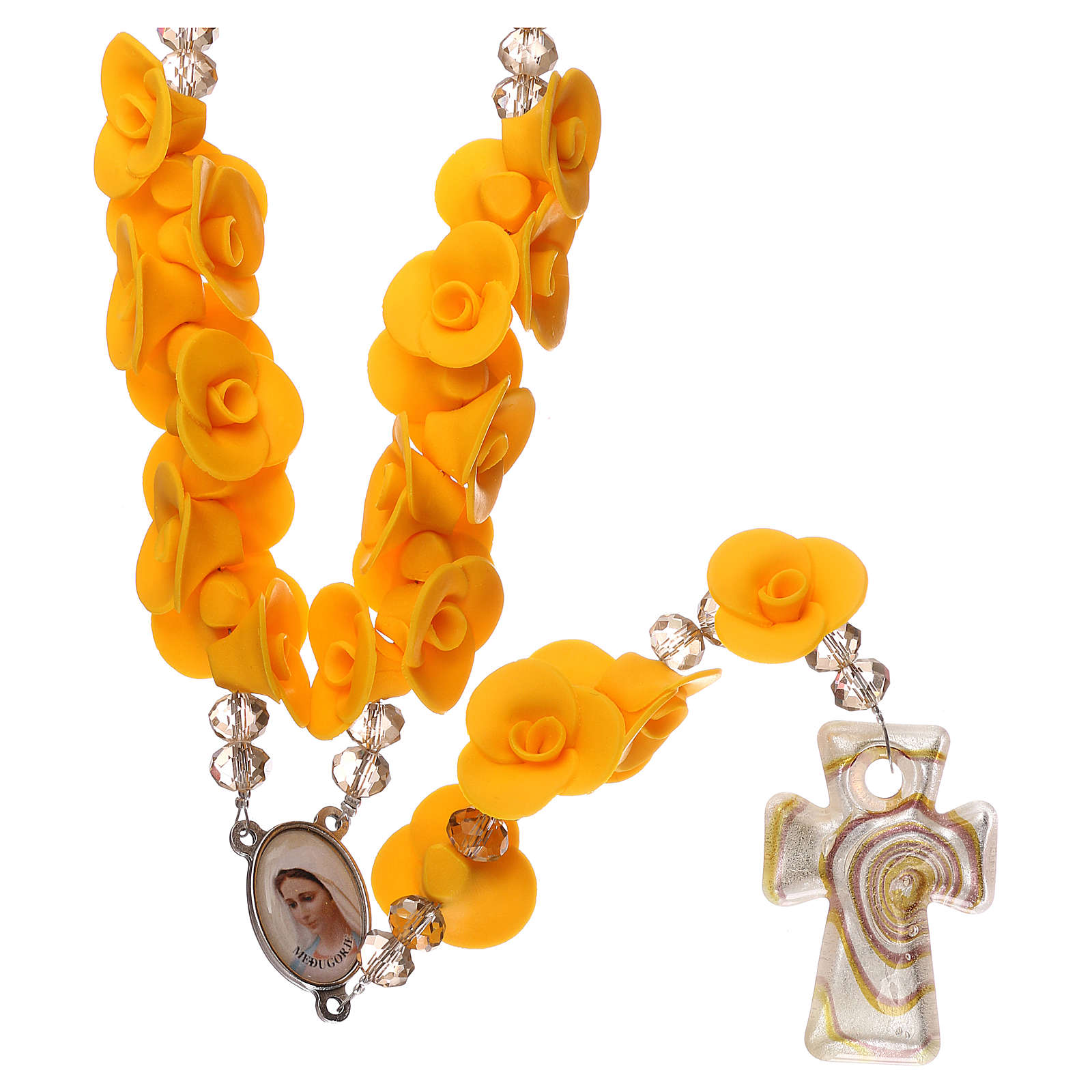 Chapelet Medjugorje roses jaunes croix verre Murano 4