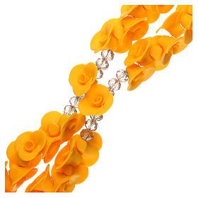 Chapelet Medjugorje roses jaunes croix verre Murano s3
