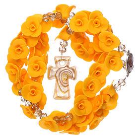Chapelet Medjugorje roses jaunes croix verre Murano s4