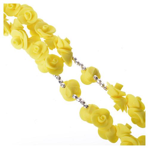 Rosario Medjugorje rose gialle croce vetro Murano 3
