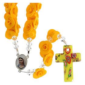 Terço de Medjugorje rosas amarelas e cruz vidro Murano s1