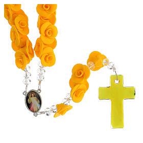Terço de Medjugorje rosas amarelas e cruz vidro Murano s2