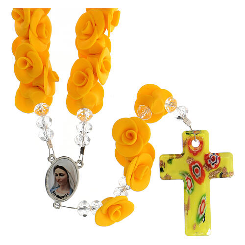 Terço de Medjugorje rosas amarelas e cruz vidro Murano 1