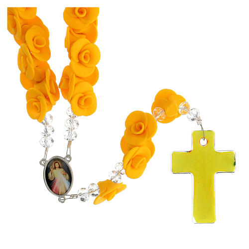 Terço de Medjugorje rosas amarelas e cruz vidro Murano 2