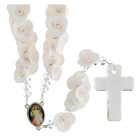 Rosario Medjugorje rosas blancas cruz  vidrio Murano s2