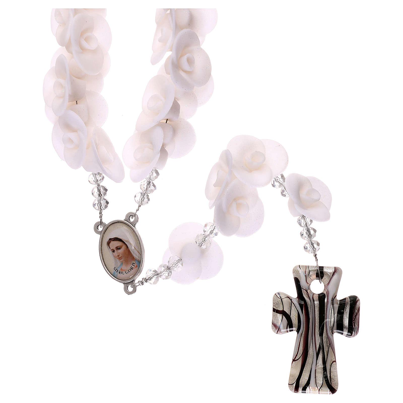 Rosario Medjugorje rose bianche croce vetro Murano 4
