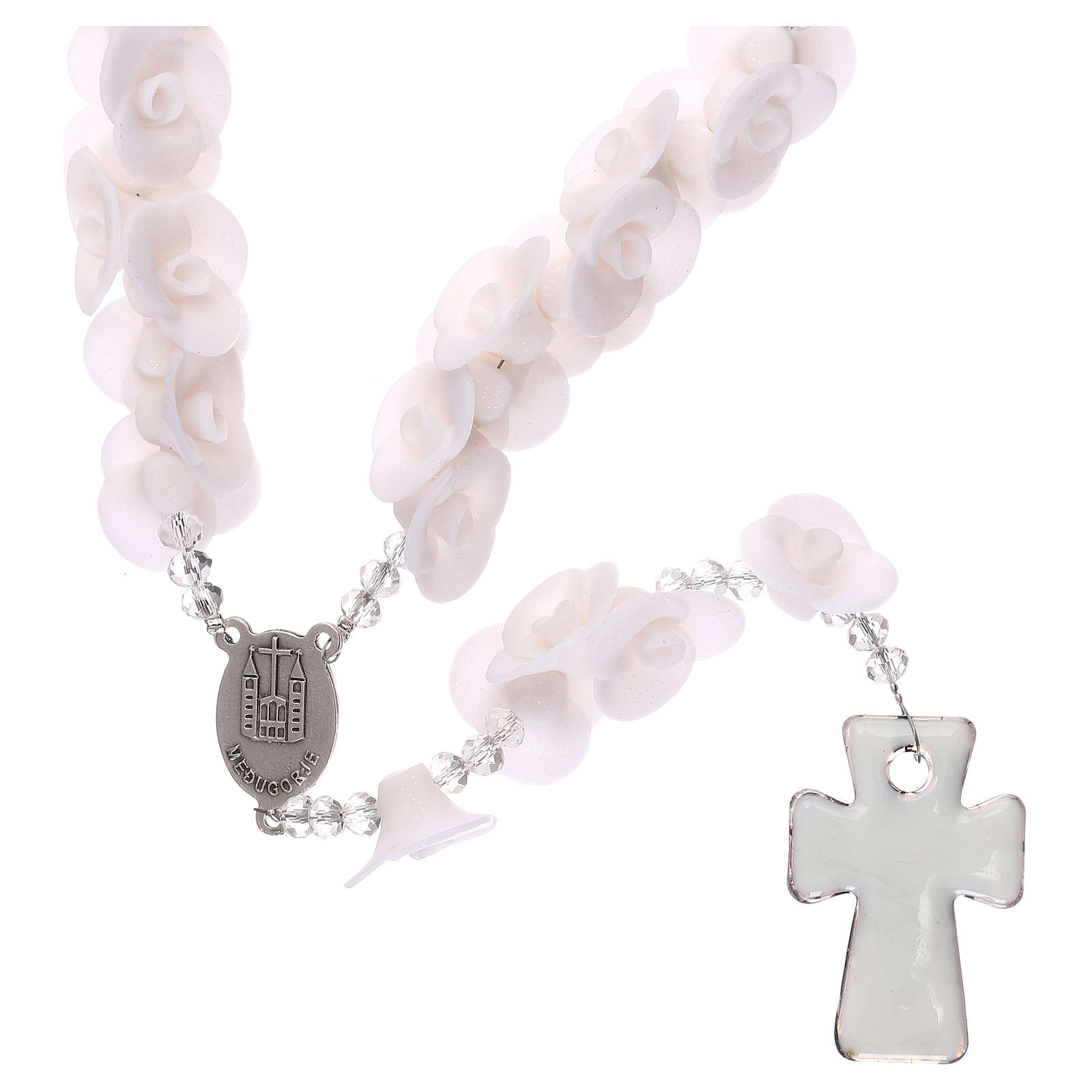 Medjugorje rosary with white roses, Murano glass 4